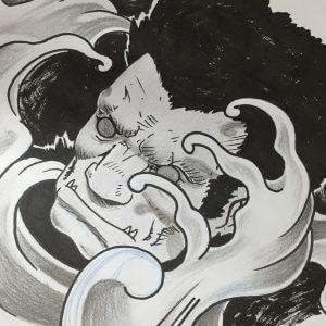 Dibujo japonés olas